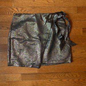 Metallic Animal Print Wrap Mini Skirt